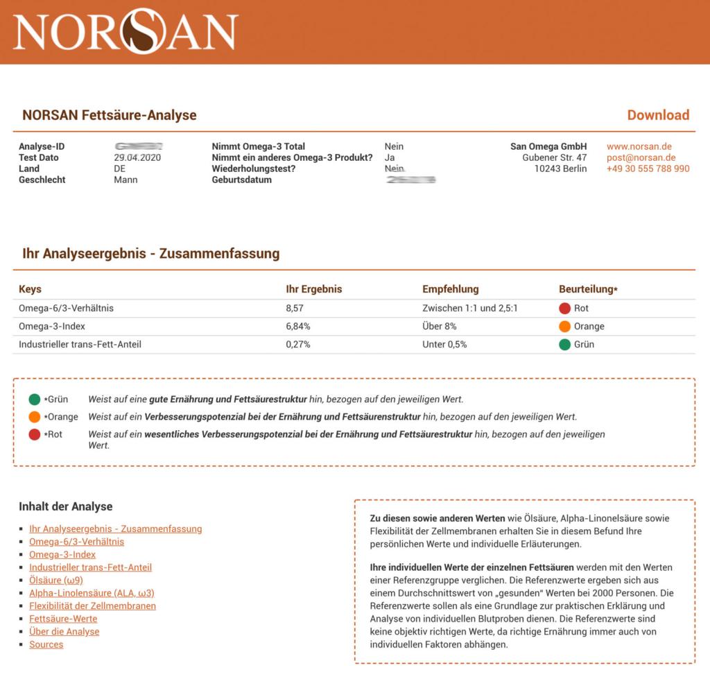 NORSAN Fettsäure-Analyse Auswertung
